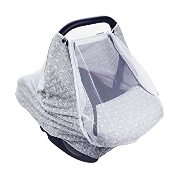 ARHSSZY Baby Car Seat Cover With Mosquito Net Multi Use Nursing Stretchy Canopy