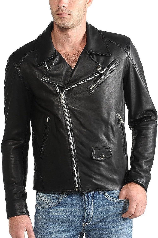 Men Leather Jacket Slim Fit Biker Motorcycle Genuine Lambskin Jacket T797