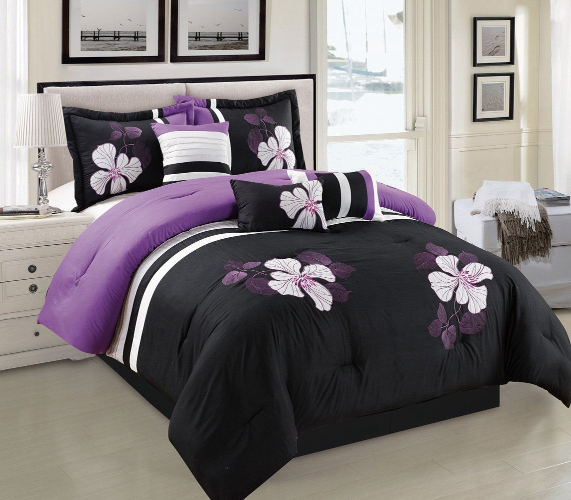 Purple, Black and White Comforter Set Floral Bed In A Bag Queen Size Bedding