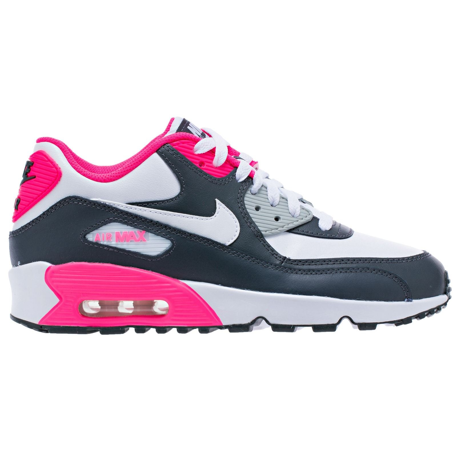 NIKE Air Max 90 Letter Big Kids Style Shoes : 833376, Anthracite/White-Hyper Pink-Metallic Silver, 5.5
