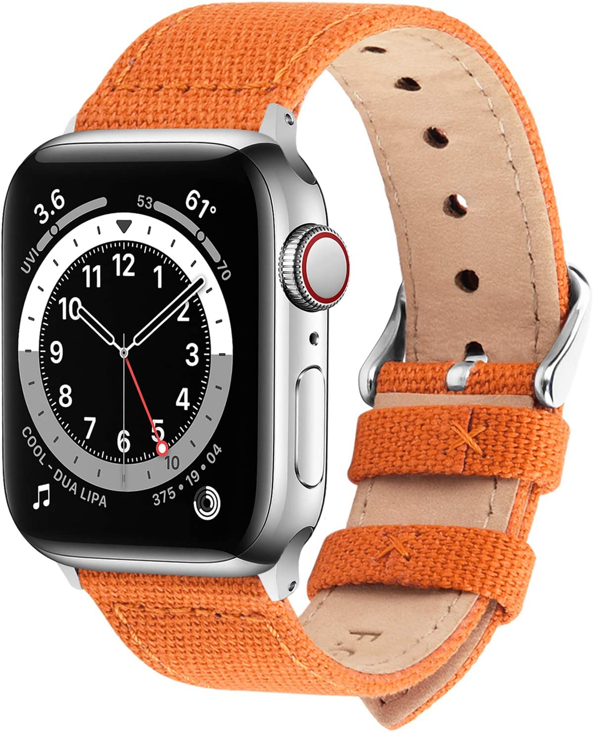Fullmosa Compatible Apple Watch Band 38mm 40mm 42mm 44mm, 8 Colors Canvas Style for iWatch Strap Compatible with Apple Watch Series 4/5/6/SE (40mm) Series 3/2/1 (38mm),38mm 40mm Pumpkin Orange