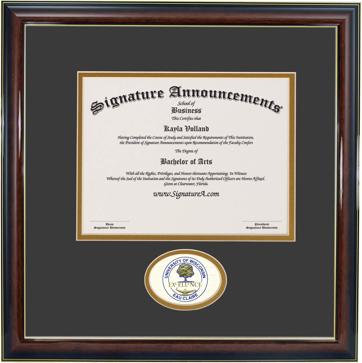 Gloss Mahogany with Gold Accent Signature Announcements University-of-Wisconsin-Eau-Claire Undergraduate Sculpted Foil Seal Graduation Diploma Frame 16 x 16