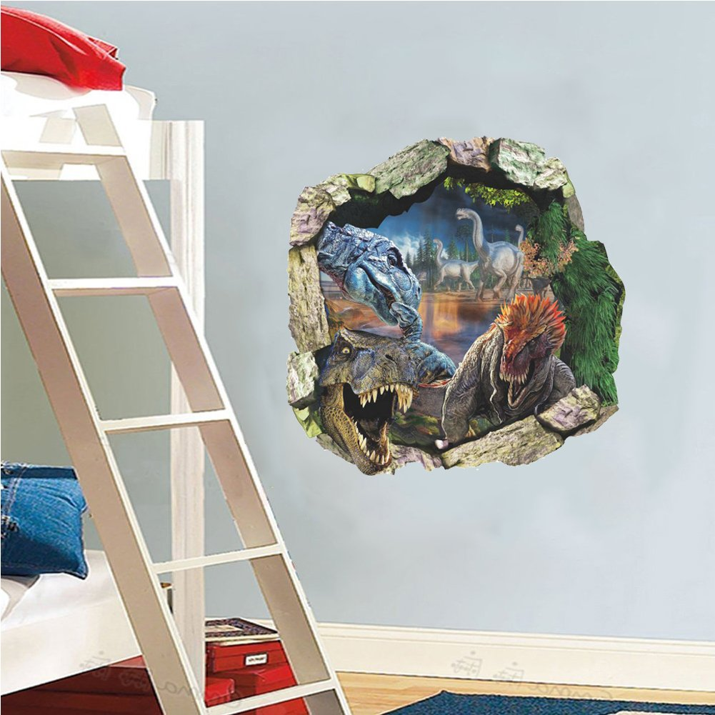 Zooarts/® Dinosaur Cracked Wall Removable Vinyl Mural Art Wall Sticker Decal