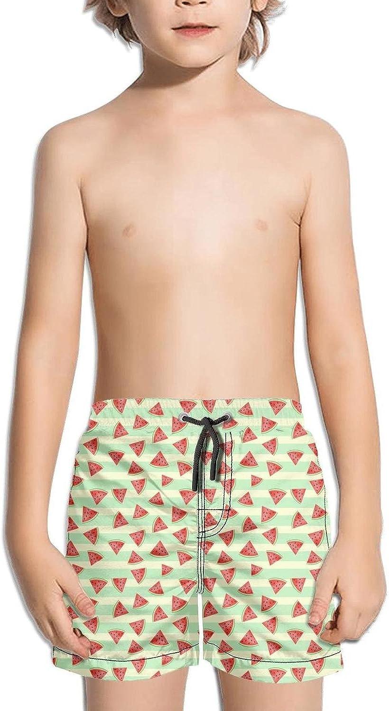 SYBING Funny Watermelon Bright Stripe Boys Funny 4-Way Stretch Waterproof Surfing Hawaiian Beach Board Shorts