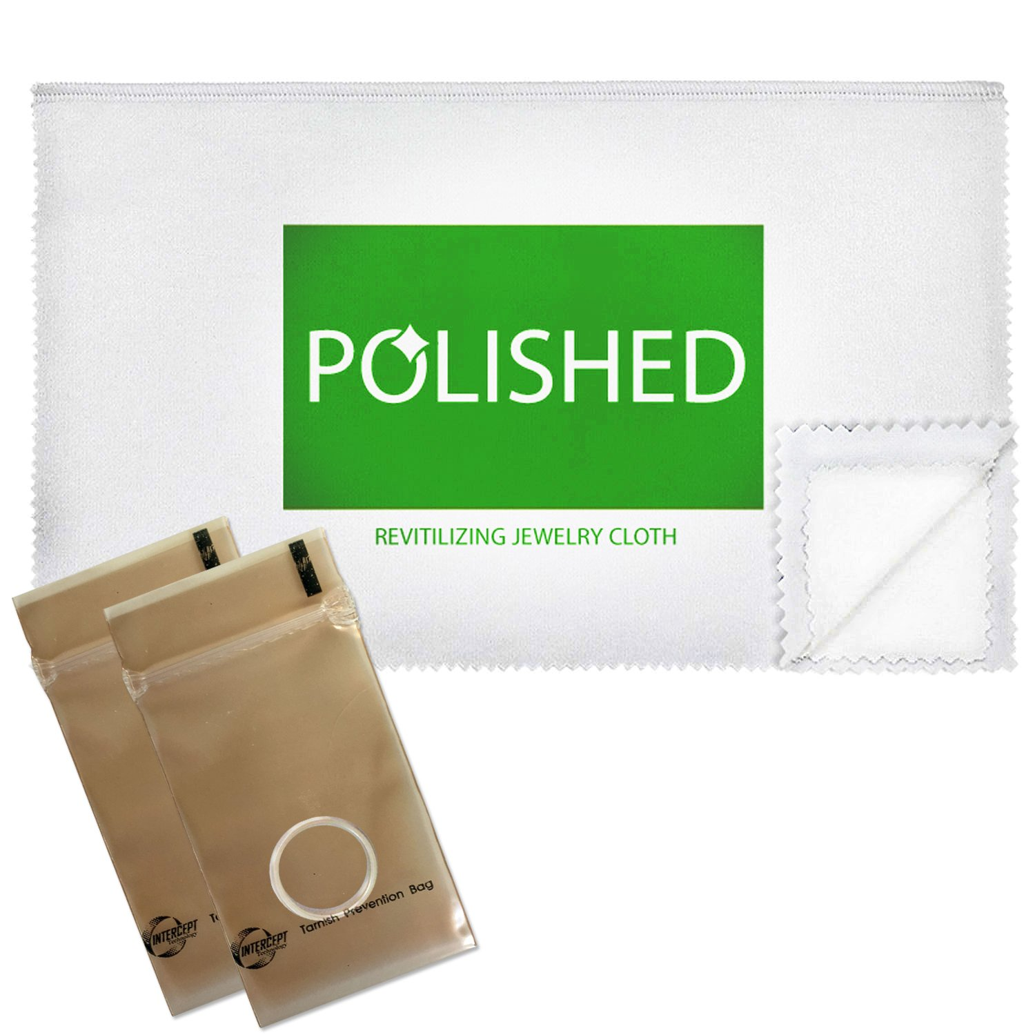 Polished Jewelry Polishing Cloths, Professional Shine in 1-Minute! Set of 3 Jewelry Cleaner Cloths + 2 Anti-Tarnish Storage Bags | Soft Cotton, Non-Scratch Ring Cleaner + Gold, Diamond, Silver Cleaner by Polished (Image #2)
