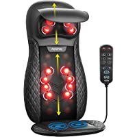 Shiatsu Massager with Heat and Vibration, RENPHO Neck Back Massage Chair Pad Deep Tissue Kneading Full Back Massager for…