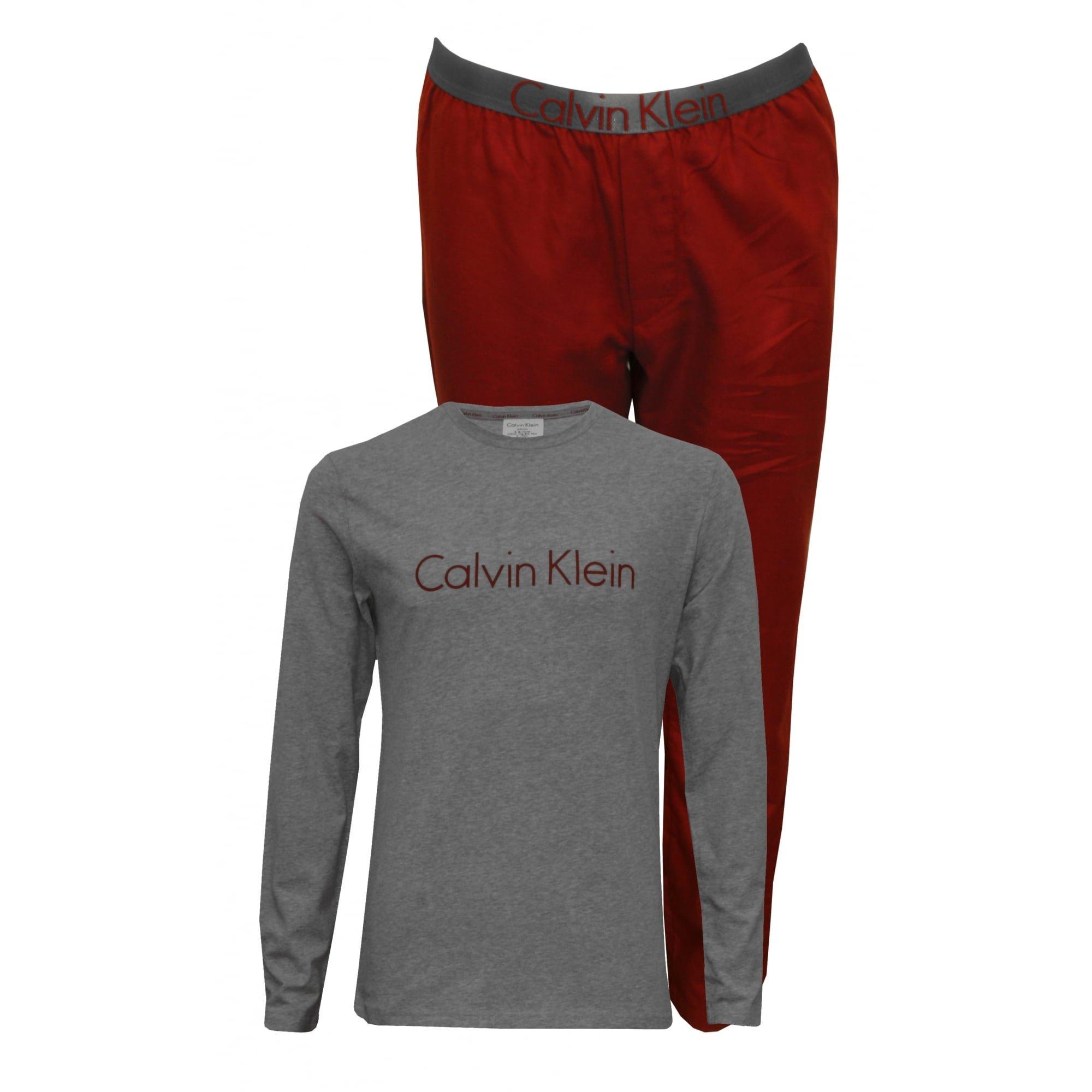 Calvin Klein Boy's Boys Long-Sleeve Jersey Metallic Logo Flannel Pyjama Set, Burgundy/Grey Heather Age 8-10 Burgundy/Grey Heather