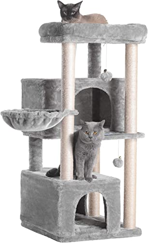 Hey-brother Multi-Level Cat Tree Condo Furniture with Sisal-Covered Scratching Posts, 2 Plush Condos, Plush Perches, for Kittens, Cats and Pets
