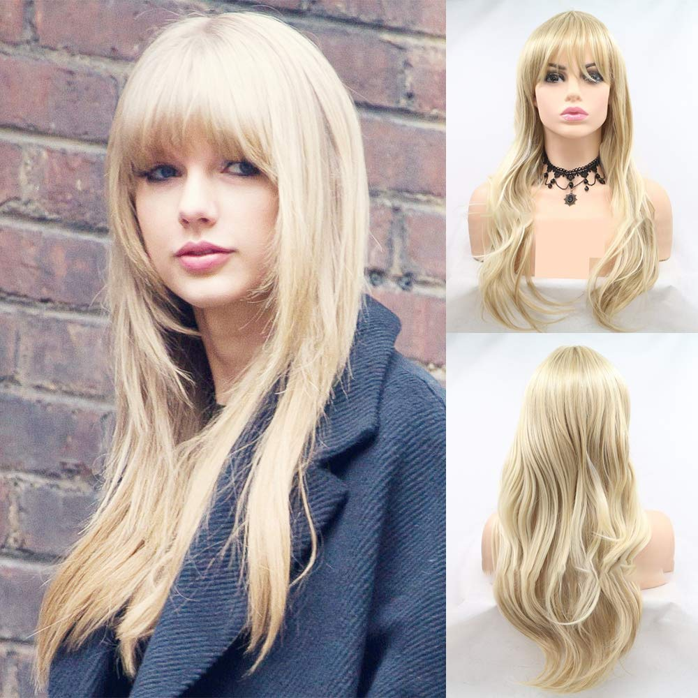 Amazon Com Taylor Swift Blonde Synthetic Lace Front Wigs For Women Golden Long Synthetic Wig With Bangs Glueless Heat Resistant Hair Wig For Cosplay Party Use 24iches Beauty