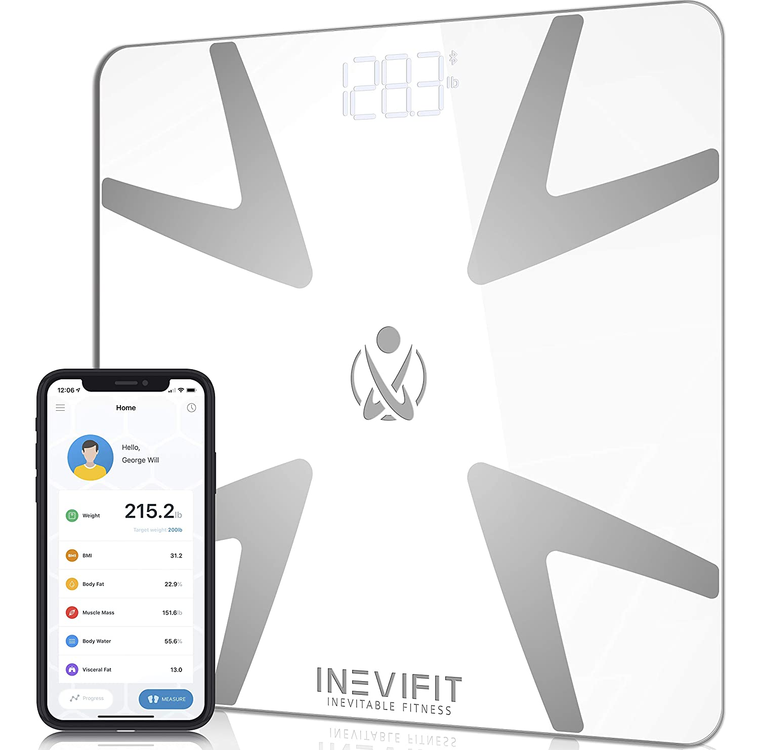 INEVIFIT Smart Body Fat Scale, Highly Accurate Bluetooth Digital Bathroom Body Composition Analyzer, Measures Weight, Body Fat, Water, Muscle, BMI, Visceral Fat Bone Mass for Unlimited Users