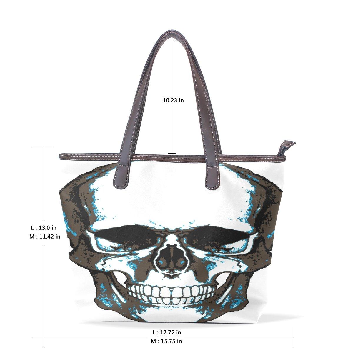 Ye Store Blue Skull Lady PU Leather Handbag Tote Bag Shoulder Bag Shopping Bag