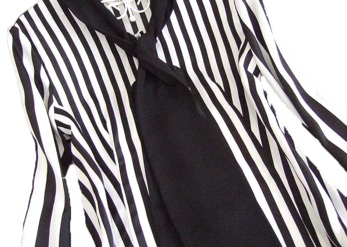 Nueva Moda Coreana Arco Camisa De Gasa Salvaje Delgada Delgada De Manga Larga Rayas Serpentinas Pieza De La Camisa De Las Mujeres: Amazon.es: Ropa y ...