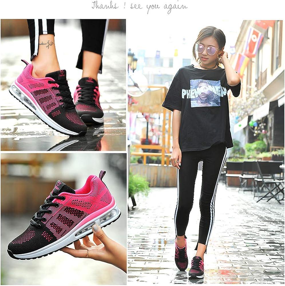 MINBEI Baskets Femmes Fitness Tendances Chaussures de Running Fille Chaussures de Sport Femmes Lacets Plate Noir Rose Taille 38