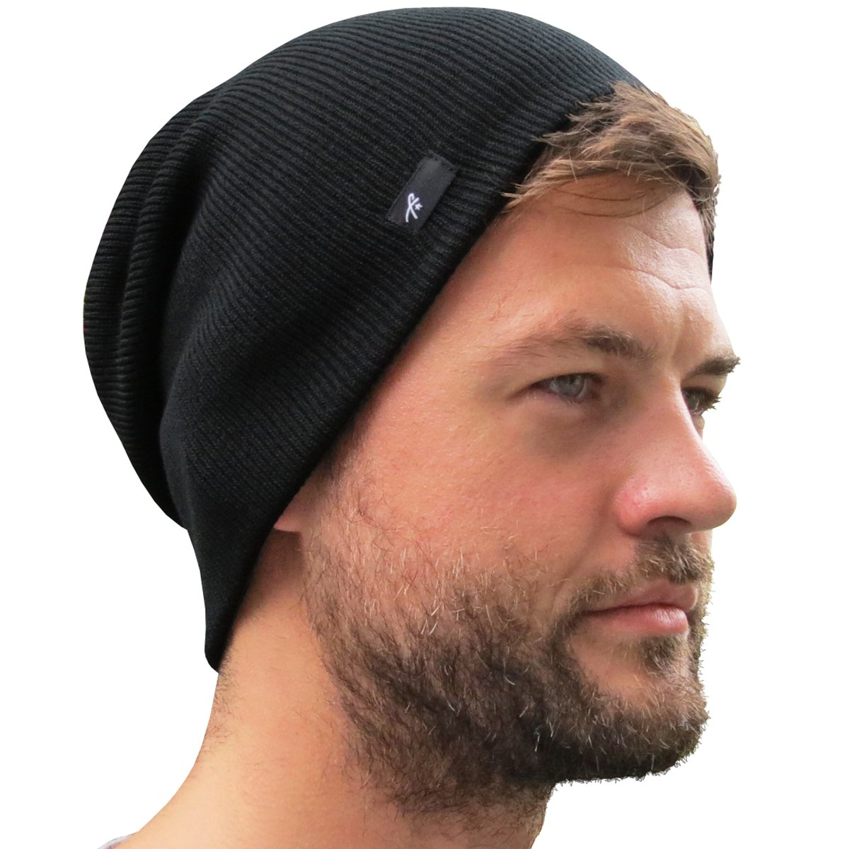 Slouch Beanie Hat for Men (Skull Cap) with Bonus Keychain (Many Colors)