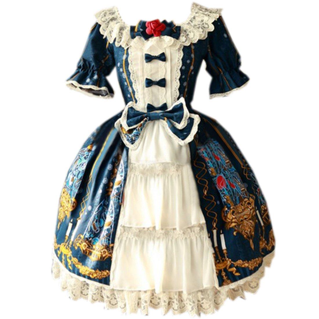 Partiss Womens Classic Beauty & Beast Printed Sweet Lolita Dress, S, Blue Green