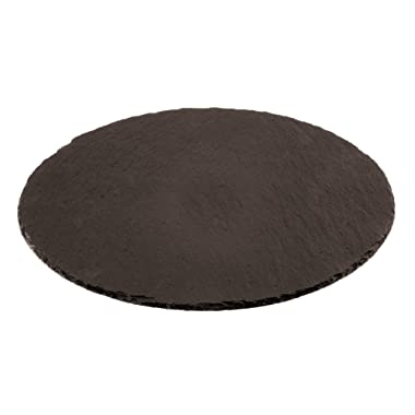 Paderno World Cuisine 41586-28 Round Natural Slate Tray, Black