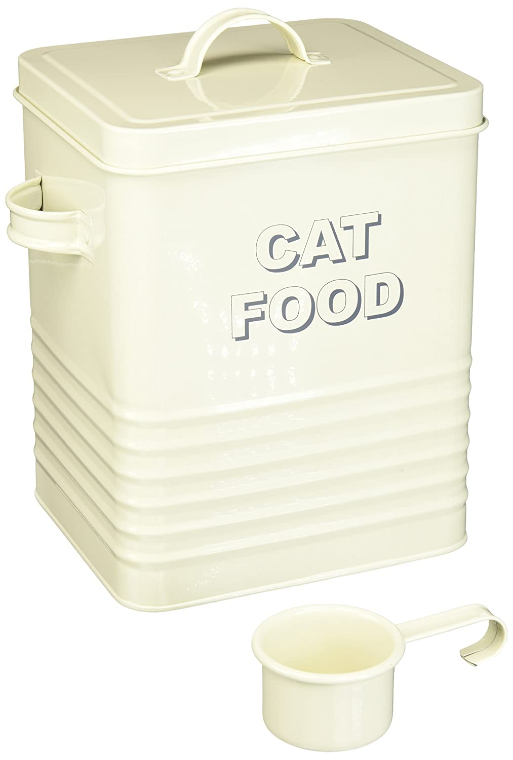 The Leonardo Collection LP22218 Sweet Home Cream Cat Food Storage Tin with Scoop