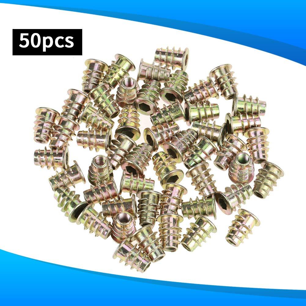 /Écrous M6 25mm Type Filet/é Hex T/ête Dentra/înement En Alliage De Zinc Fil Meubles Meubles Hex Socket Vis Pour Le Bois Insert Assortment Kit 50 Pcs