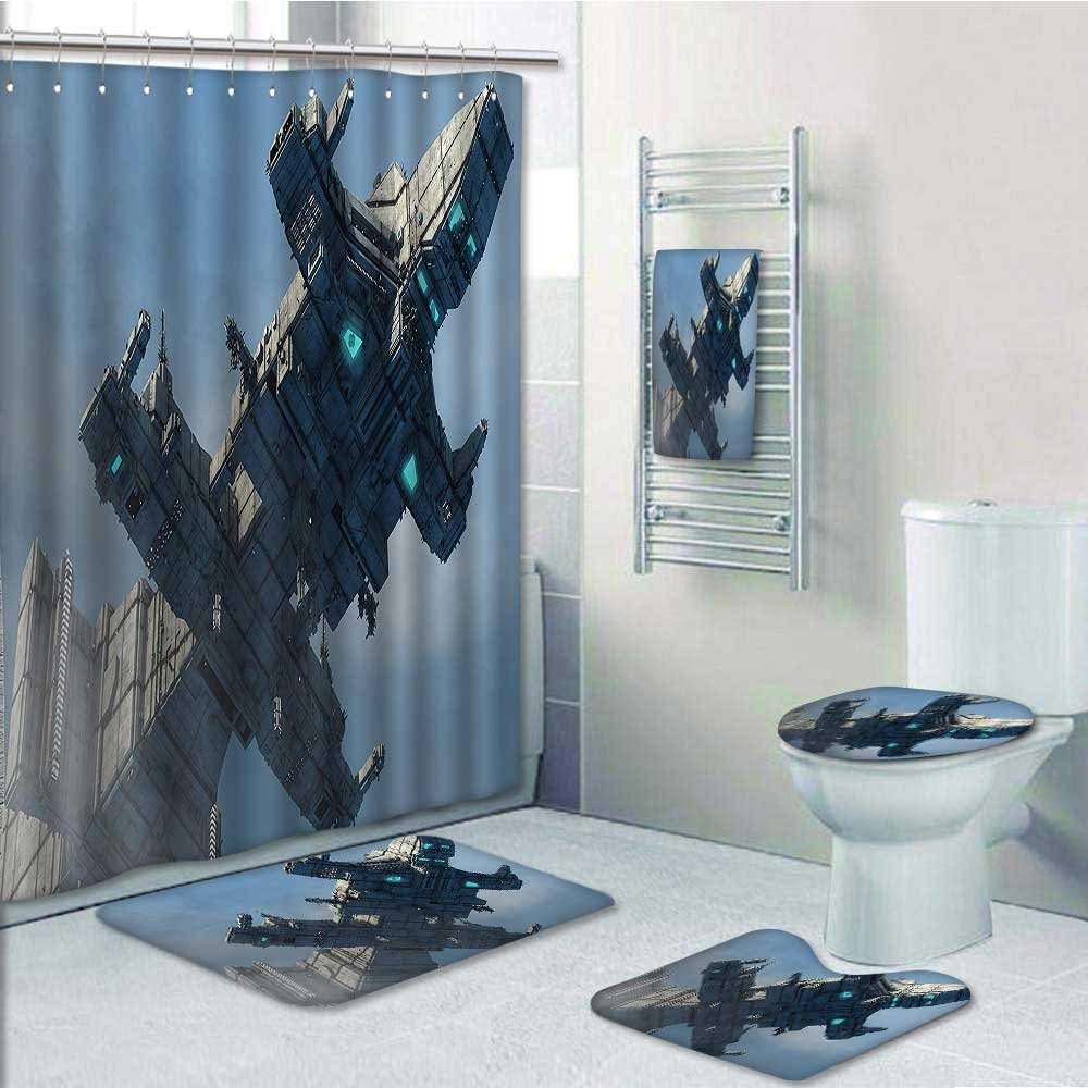 VROSELV 5-piece Bathroom Set-Includes Shower Curtain Liner,of Huge Military Ship in the Air Solar Planetary Cosmos Vehicle Grey BlueDecorate the bathroom(Medium size)