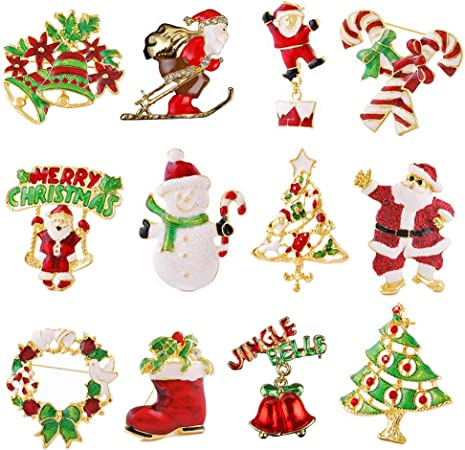 exclura 12-Pack Rhinestone Navidad broche Pin Set para adornos de ...