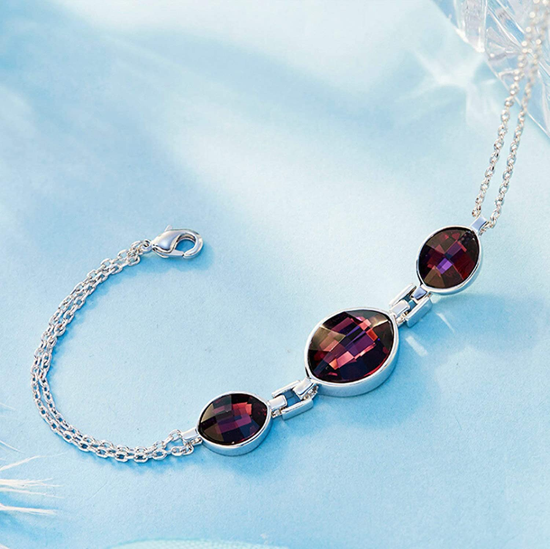 Aooaz Copper Bracelet Womens Girls Teardrop Link Bracelet Purple Wedding Purple 18.5+5CM