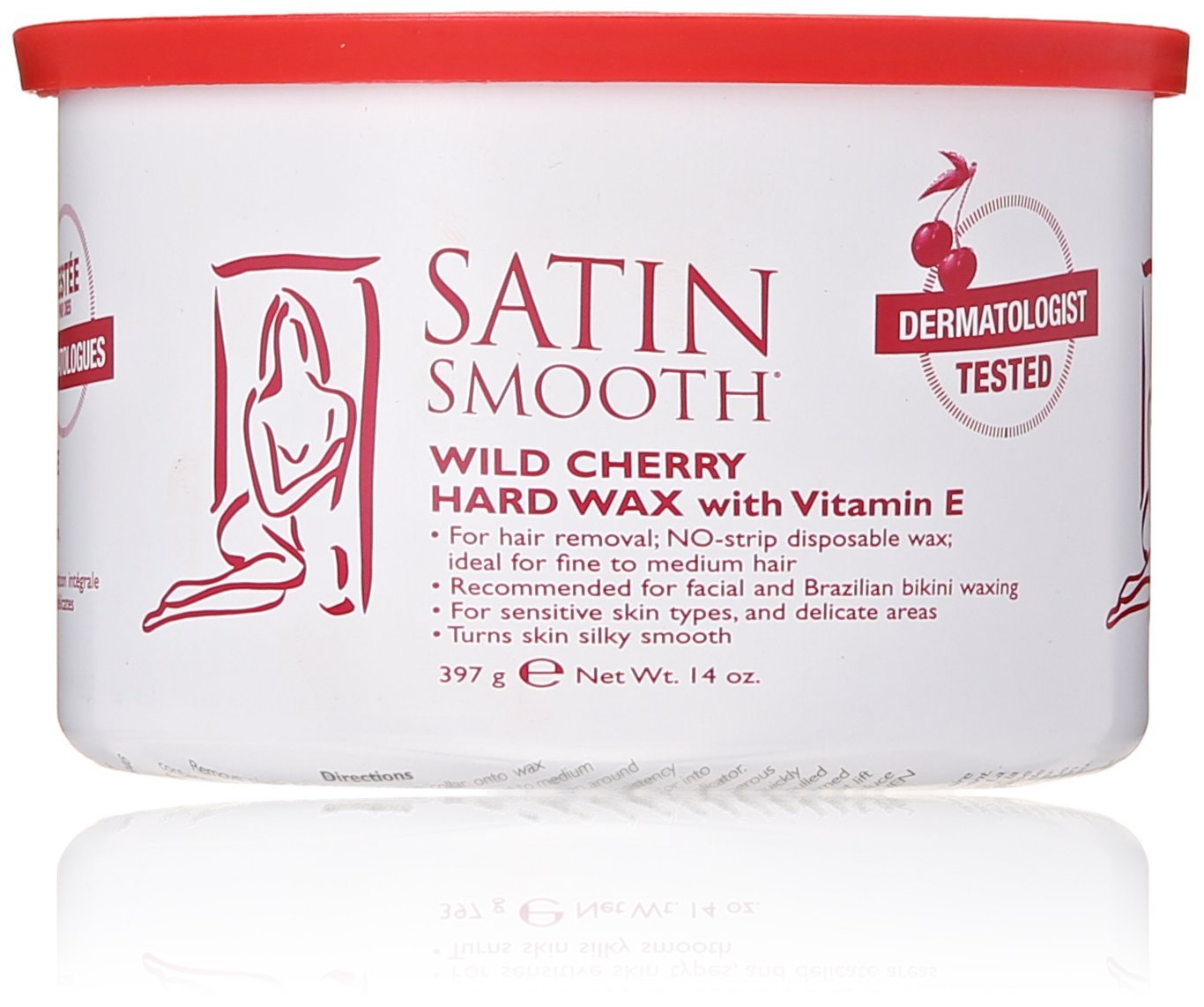 SATIN SMOOTH Wax-Wild Cherry Hard Wax with Vitamin E-14-Ounce SSW14CHG