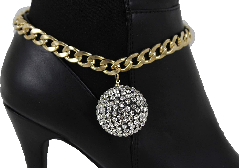 Women Western Boot Bracelet Gold Metal Chain Shoe Bling Dance Disco Ball Charm