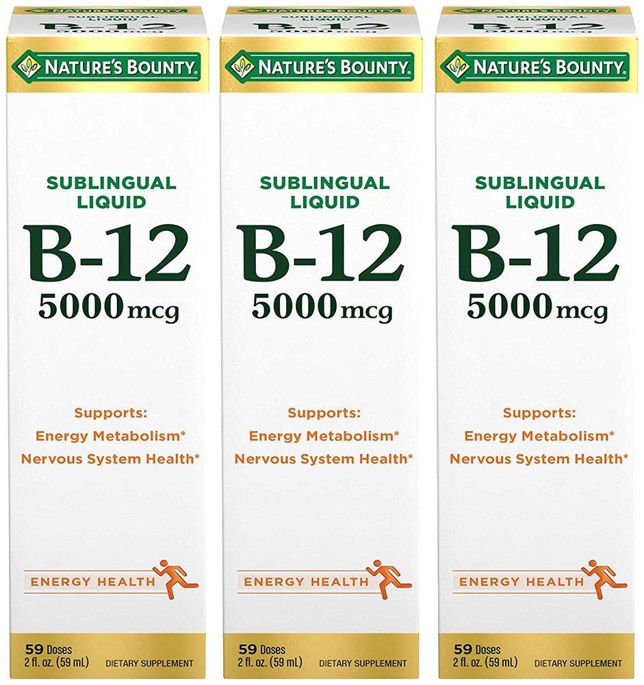 B-12 5000 mcg Sublingual Liquid Energy Health, 2 Fl Oz (3 Bottles)
