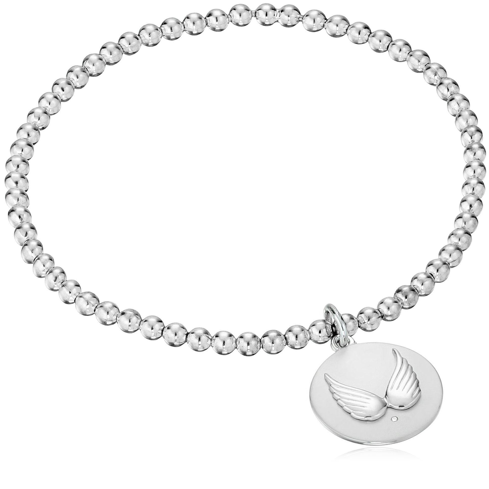 Sterling Silver Diamond Accent''With Brave Wings She Flies'' Wing Stretch Bead Charm Bracelet