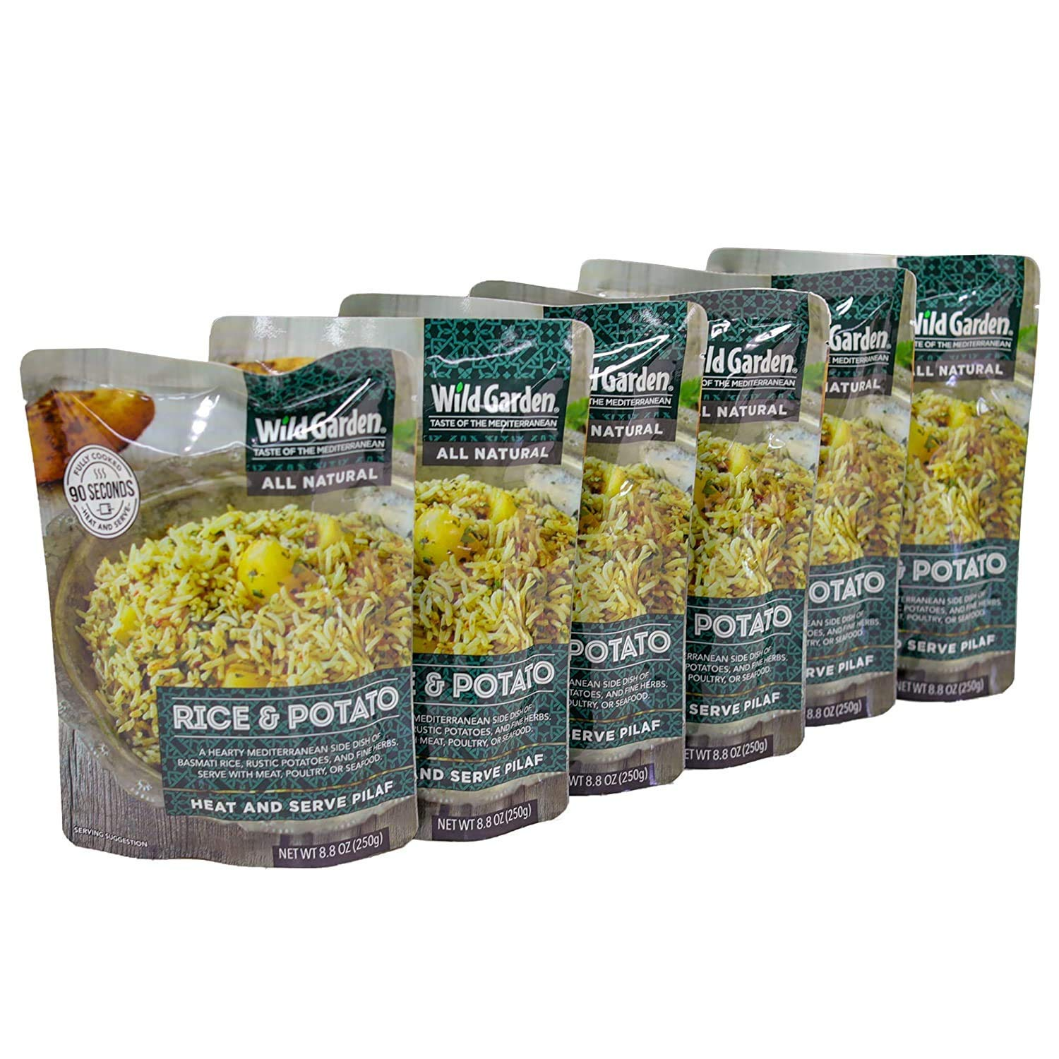 Wild Garden Heat and Serve Pilaf, 100% All-Natural Rice & Potato, Fully Cooked, Ready to Eat, Microwavable 8.8 oz, 6 pack