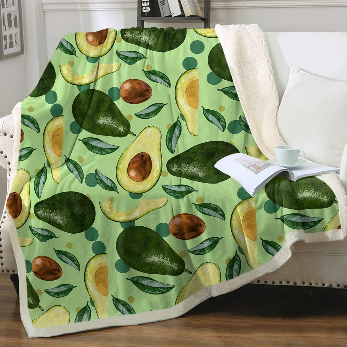 Sleepwish Avocado Blanket Green Brown Fruit Food Throw Blanket for Kids Adults Funny Avocado Slices Fleece Blanket for Couch Bed Sofa Travelling Camping Twin(60