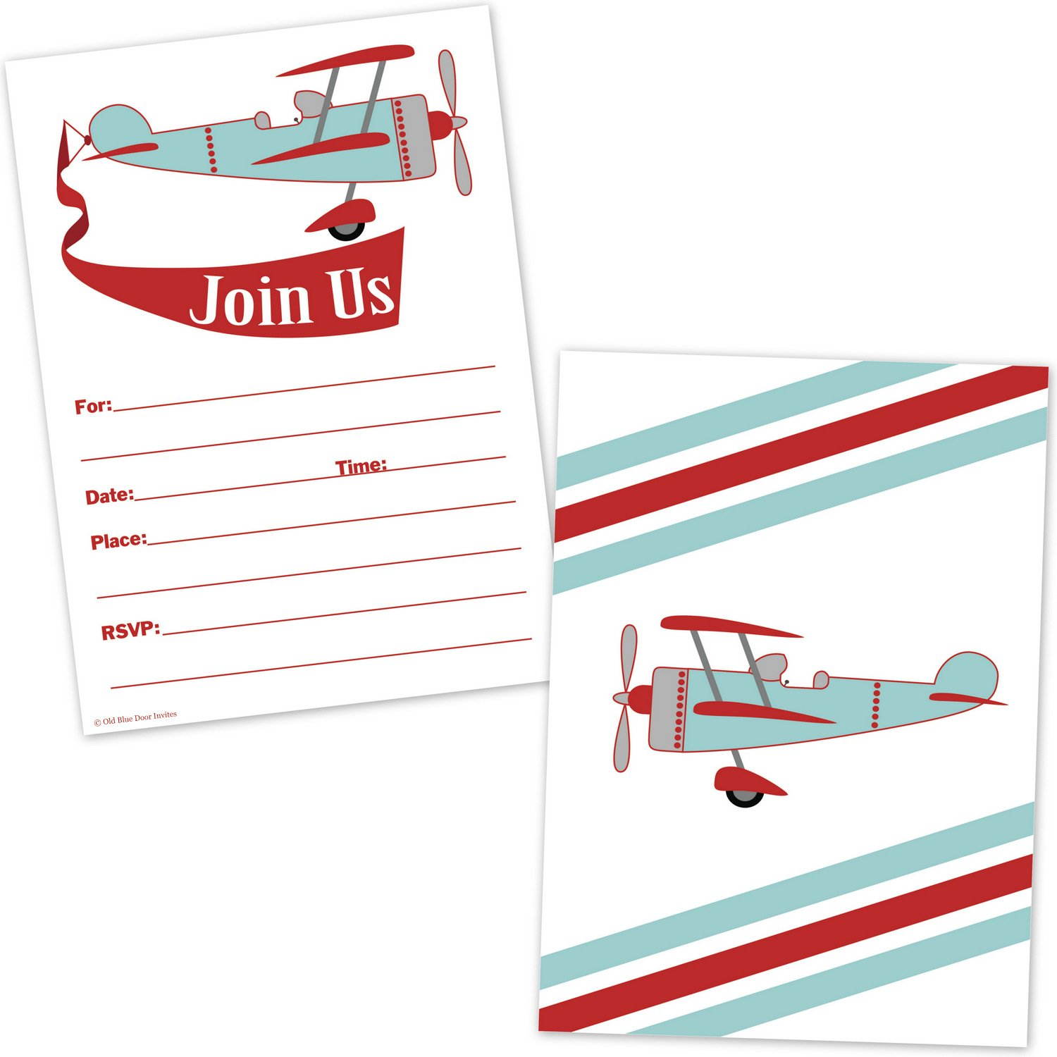 Amazon.com: Airplane Birthday Invitations for Boys - Vintage Biplane ...