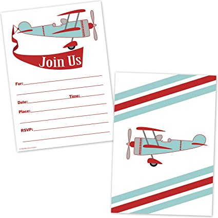 Airplane Birthday Invitations For Boys
