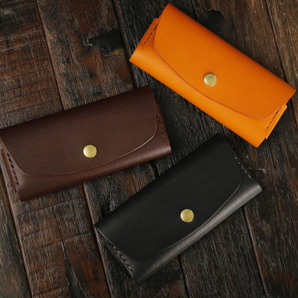 G.velox Sunglasses Case glasses holder Genuine leather ( Black/Orange ) (Black)