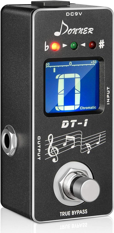 Donner DT-1 Chromatic Pedal Afinador Guitarra Eléctrica, Guitar Tuner Pedal True Bypass