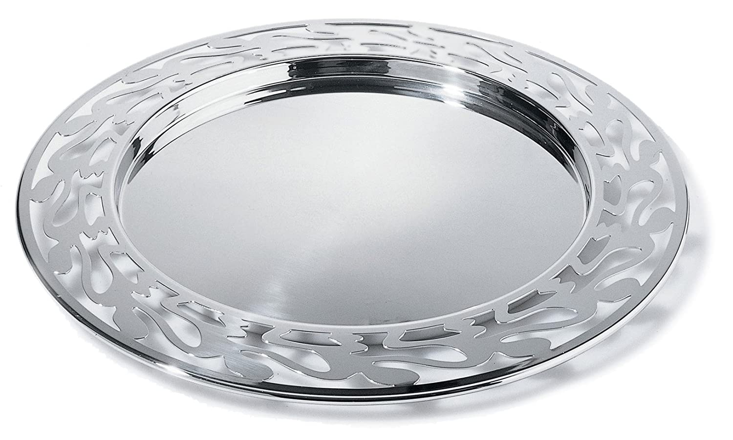 Alessi SG30 Ethno Round Serving Tray - 18/10 Stainless Steel Mirror Polished Giovannoni Stefano Round tray Serveware_Trays_Platters Tabletop