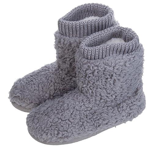 714caf805f207 MIXIN Women's Comfort Warm Faux Fleece Fuzzy Ankle Bootie Slippers ...
