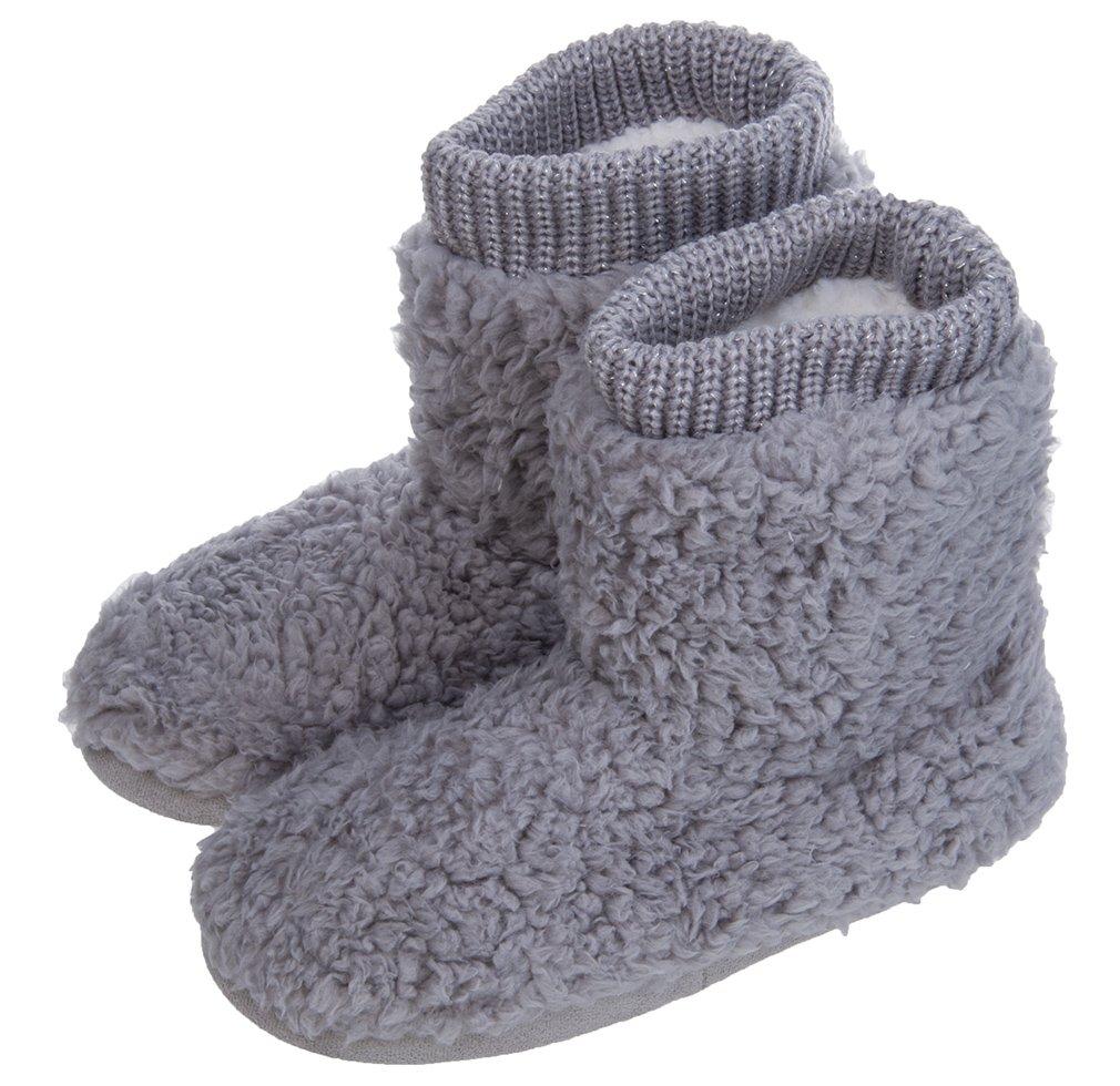MIXIN Women's Warm Faux Fleece Fuzzy Indoor Outdoor Slipper Boots Shoes Grey 5-6 M US