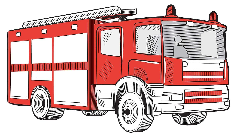 Wandtattoo Kinderzimmer Feuerwehr Auto rot weiß Wandsticker Feuerwehrmann Deko