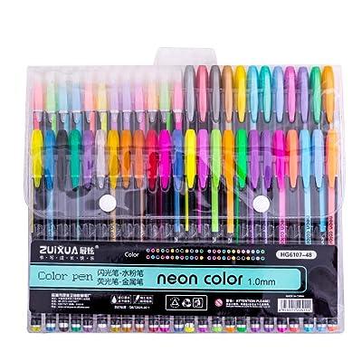 48 Color Glitter Gel Pen Set, Coloring Pens Art Marker for Adult Coloring Books, 6 Set Options: Clothing