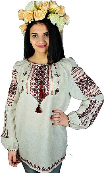 3f06295fc5fd81 Ukrainian Embroidered Folk Blouse for Women Luxury Linen Handmade(Vyshyvanka).:  Amazon.ca: Clothing & Accessories