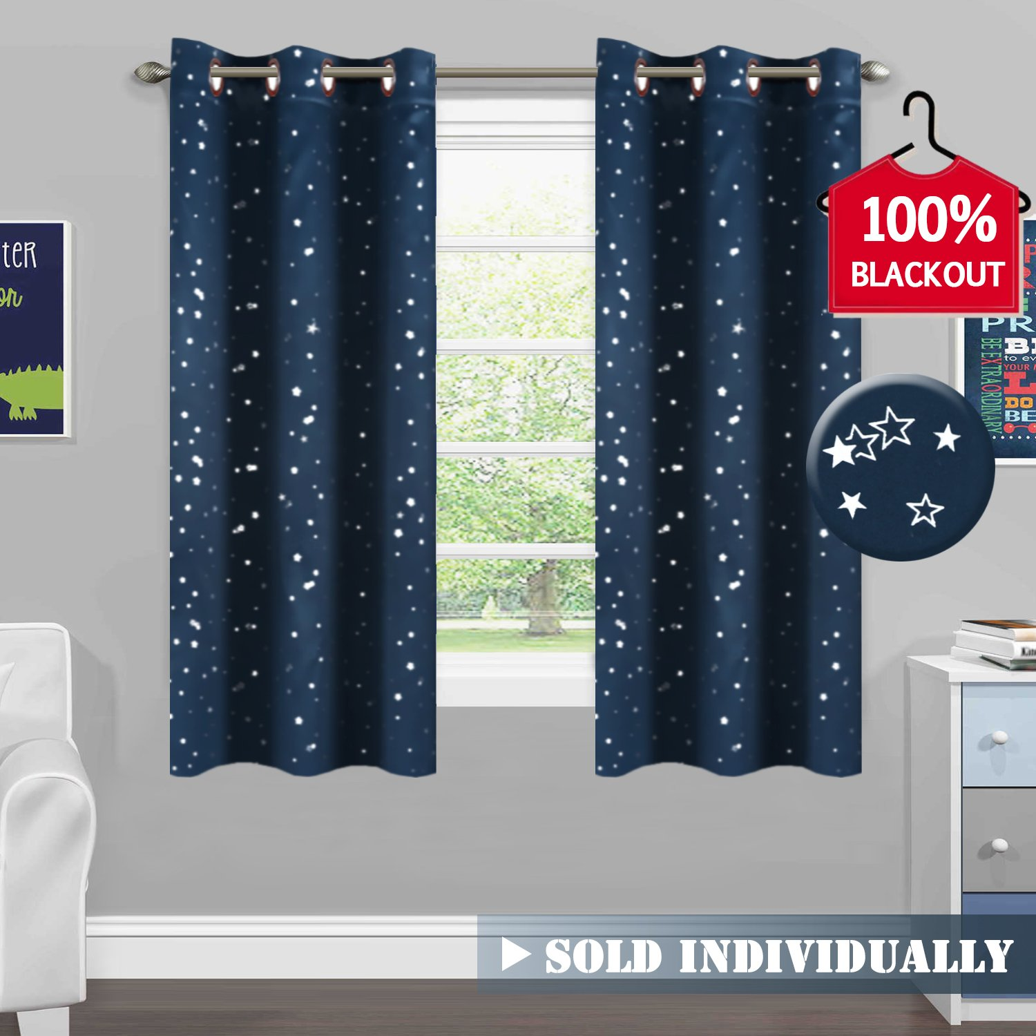 H.VERSAILTEX 100% Blackout Curtain Thermal Insulated Navy Stars Kids Room Curtain Panels Antique Grommet Window Treatments for Short Window