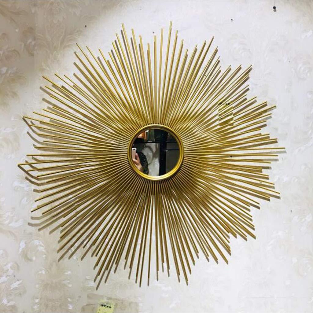 JIANPING Modern Round Gold Decorative Line Wall Mirror Brushed Gold Asahi Round Wall Mirror 27.5 Inches Wall Mirror by JIANPING
