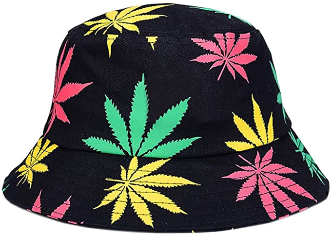 963a1fe6af637 bettyhome Women Men Fashion Cotton Packable Reversible Maple Leaf Pattern  Wide Rim Flat Fisherman Bucket Sun Hat (Colorful) at Amazon Women s  Clothing store ...