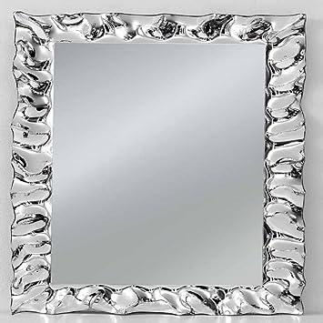 Specchio con cornice rettangolare colore argento, stile moderno ...