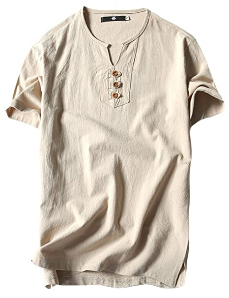 ae31a5504c sandbank Men s Casual Light Weight V Neck Short Sleeve Linen Cotton T  Shirts Tee