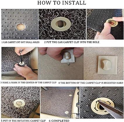 Car Mat Carpet Clips Fixing Grips Clamps Floor Holders Sleeves FFLIN Anti Slip Buckle 4 Pack