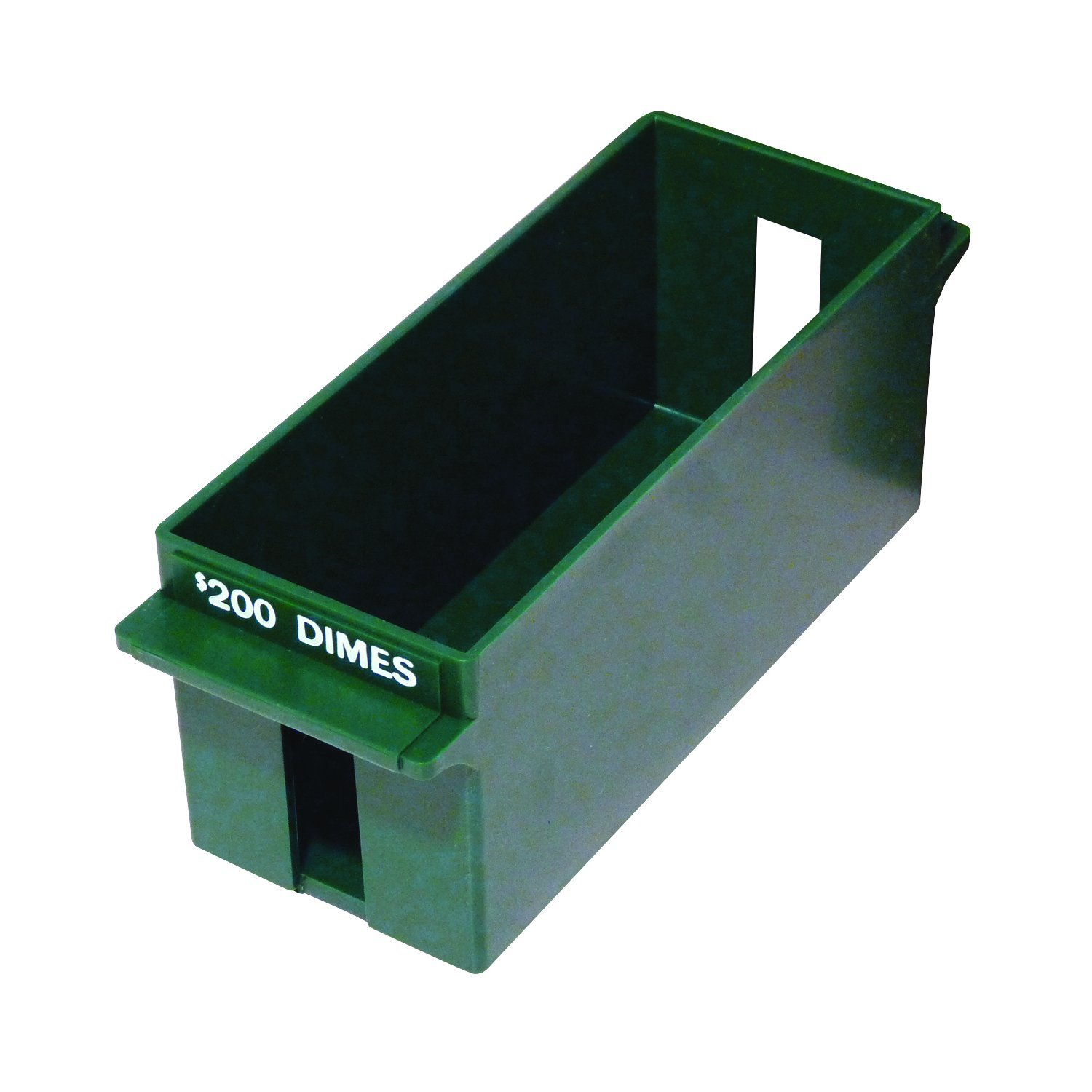 MMF Industries Porta-Count Extra-Capacity Rolled Coin Dime Storage Tray, 3.19 x 3.63 x 9.125 Inches, 200 Dollar Capacity, Green (212071002)