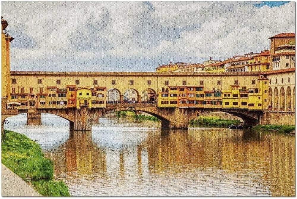 ZAQXSW Vista de Piedra Medieval Puente Ponte Vecchio sobre el río Arno en Florencia Toscana Italia (1000 Piezas Jigsaw Puzzle!) Desarrollo Intelectual