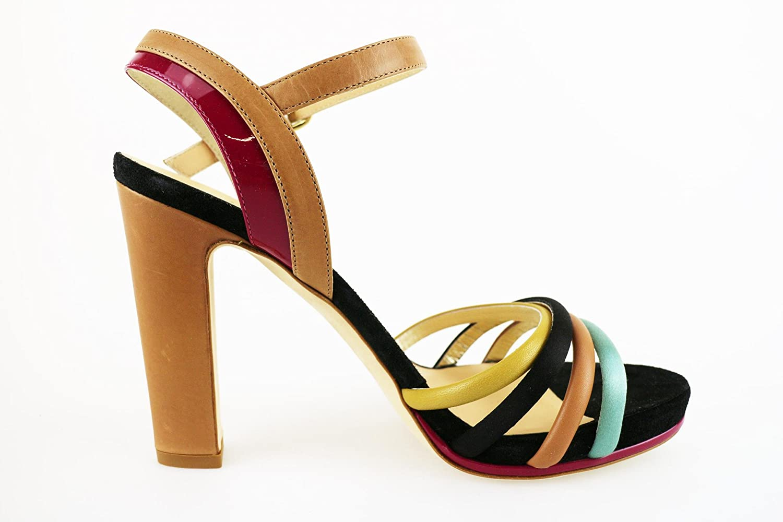 LELLA BALDI Sandali Donna Multicolore Pelle Camoscio AH825 (39 EU) N1z1Fyzsb